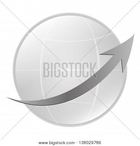 flat design earth globe with latitudes and meridians and arrow icon vector illustration