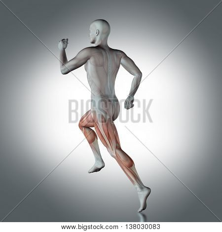 3D medical figure with partial muscle map in running pose