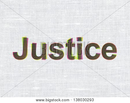 Law concept: CMYK Justice on linen fabric texture background