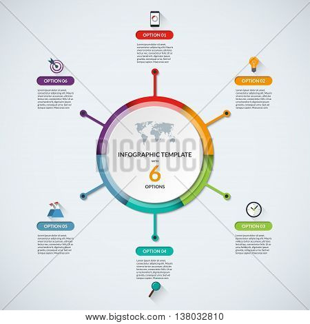 Infographic circle diagram template. Business concept with 6 steps, parts, options. Banner with the set of flat icons and design elements. Can be used for cycle diagram, round chart, graph, report