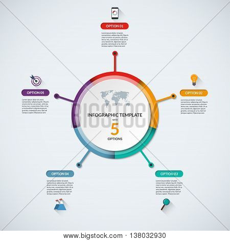 Infographic circle diagram template. Business concept with 5 steps, parts, options. Banner with the set of flat icons and design elements. Can be used for cycle diagram, round chart, graph, report