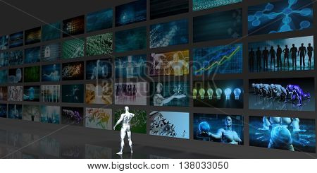 Digital Data Management and Content Aggregation Concept 3D Illustration Render