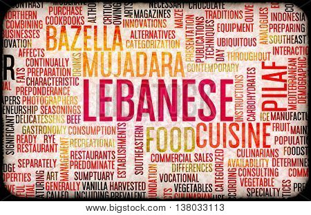 Lebanese Food and Cuisine Menu Background with Local Dishes