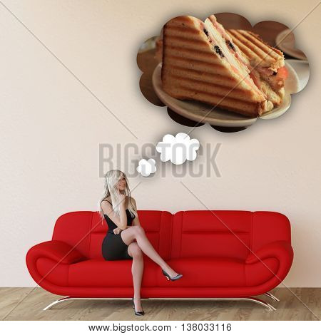 Woman Craving Grilled Sandwich and Thinking About Eating Food 3D Illustration Render