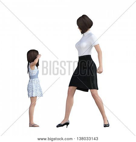 Mother Daughter Interaction of Mom Disciplining Girl as an Illustration Concept 3D Illustration Render