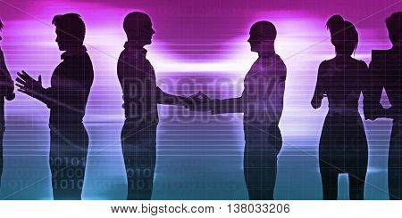 Exchanging Ideas Between Businessmen and Discussion Art 3D Illustration Render