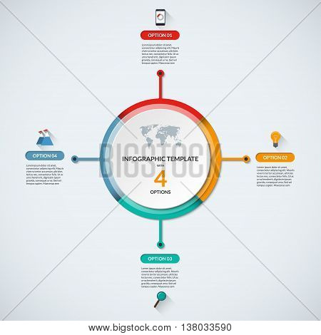 Infographic circle diagram template. Business concept with 4 steps, parts, options. Banner with the set of flat icons and design elements. Can be used for cycle diagram, round chart, graph, report