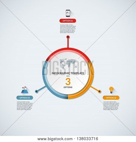 Infographic circle diagram template. Business concept with 3 steps, parts, options. Banner with the set of flat icons and design elements. Can be used for cycle diagram, round chart, graph, report