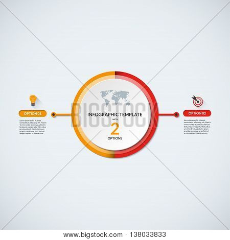 Infographic circle diagram template. Business concept with 2 steps, parts, options. Banner with the set of flat icons and design elements. Can be used for cycle diagram, round chart, graph, report