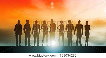 Confident Businessmen and Businesswomen Standing in Unity 3D Illustration