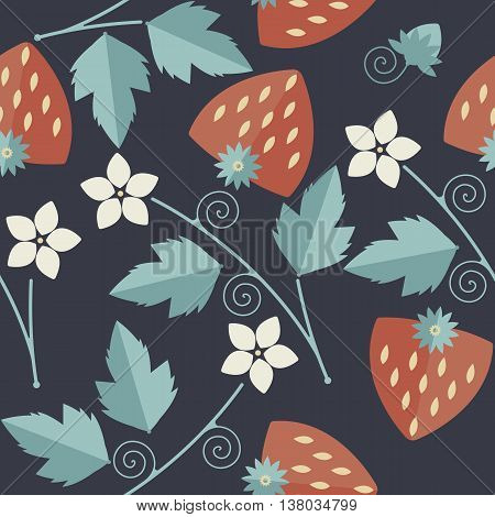 Cute seamless pattern with red strawberries, kernels leaves, stalk flowers and tendrils can be used for design fabric textile linens and more creative designs.