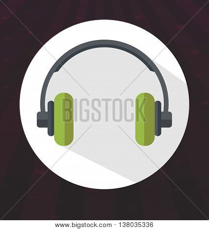 Flat colored headphones icon on disco background vector illustration