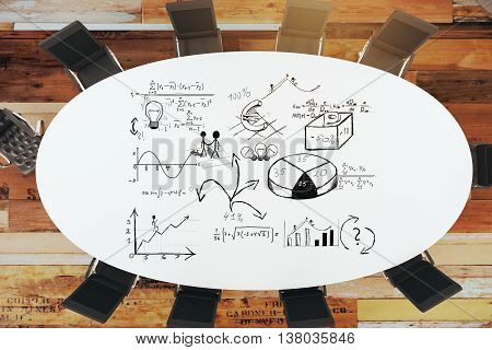 round table and chairs with drawing business strategy. 3D Rendering