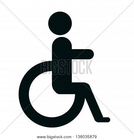 Handicap sign in black and white colors graphic design, vectorillustration.