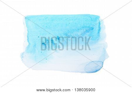 Abstract blue watercolor aquarelle hand drawn colorful shapes art paint splatter stain on white background