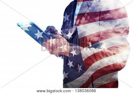 Double Exposure Of Businessman With Cloud And America Flag