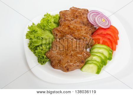 Homemade meat cutlets, delicious baked pork cutlets in crispy breading