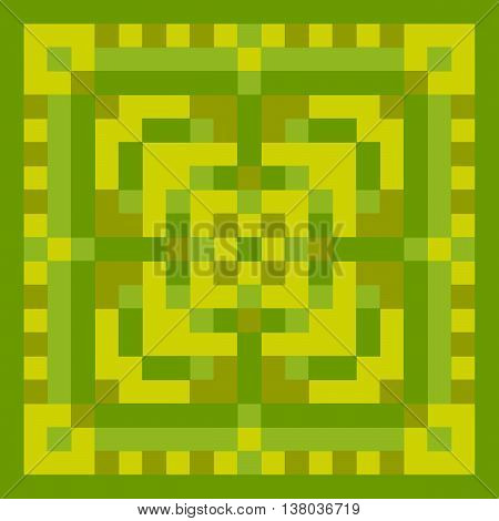Pixel green ornament. Pixel geometric art. Vector illustration