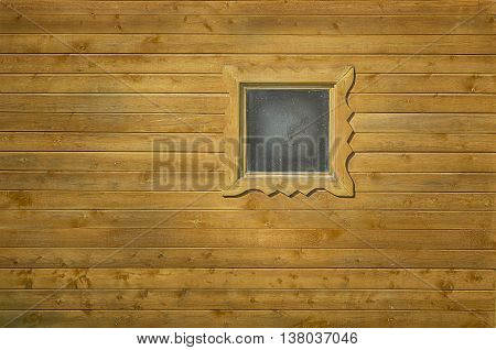 Facade of the Russian bath window. Variant sauna decor
