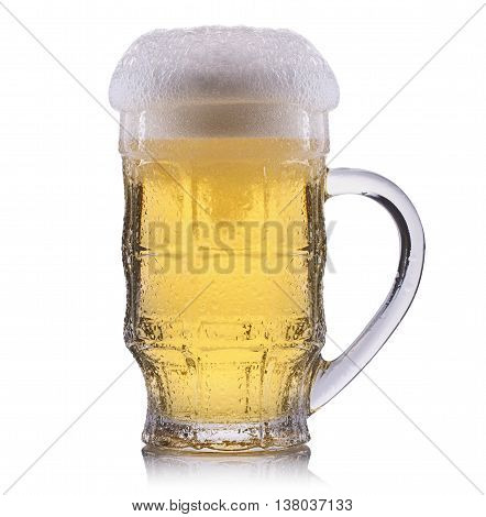 Frosty glass of light beer isolated on a white background.