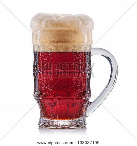 Frosty glass of red beer isolated on a white background.