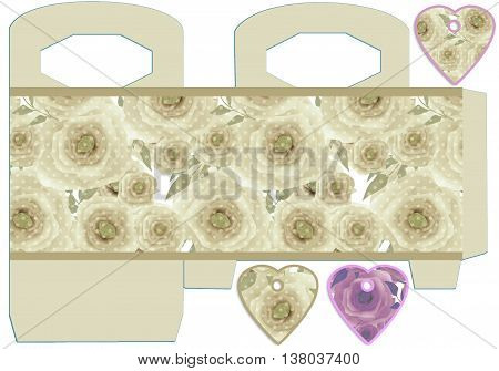 Box design with roses and tags. Diy-stamping template