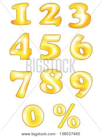 Orange 2D numbers, also for print. Golden Numbers for print. Made from meshes.  Commercial Sign, Text, Typescript, Gold Colored, Percentage Sign
