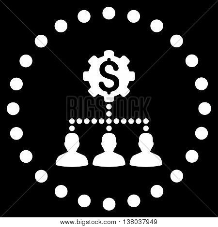 Industrial Bank Clients vector icon. Style is flat circled symbol, white color, rounded angles, black background.
