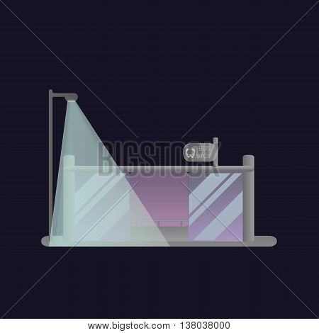 Public transport stop. Night scene, lights, sign. Vector illustration.