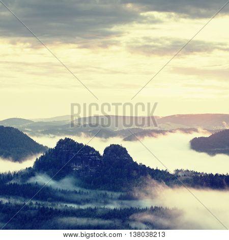 Fairy Daybreak In A Beautiful Hilly Landscape