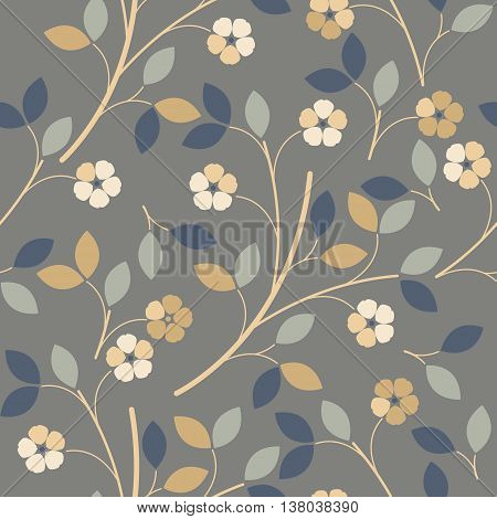Elegant seamless pattern with colorful flowers and leaves can be used for for wallpapers surface textures textilelinen tile kids cloth pattern fills web page backgrounds and more creative designs.