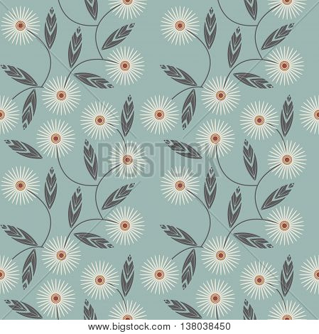 Endless pattern with white camomile flowers. Template can be used for wallpapers surface textures textile tile kids cloth pattern fills and more creative designs.