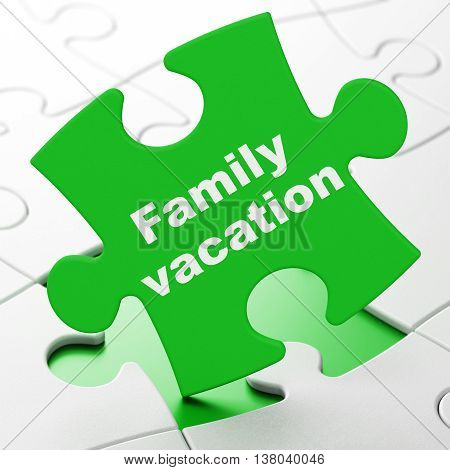 Tourism concept: Family Vacation on Green puzzle pieces background, 3D rendering