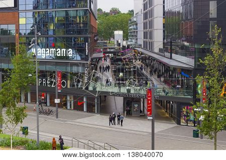 London England - June 3 2016: The London Designer Outlet a shopping area where people enjoy a stroll in London England.