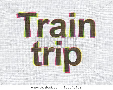 Tourism concept: CMYK Train Trip on linen fabric texture background