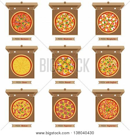 Pizzas and opened cardboard boxes on white background. Vector flat pizzas with different ingredients.
