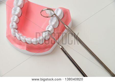 Dental jaw model and dental tool set.
