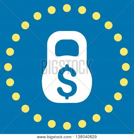 Financial Weight vector icon. Style is bicolor flat circled symbol, yellow and white colors, rounded angles, blue background.
