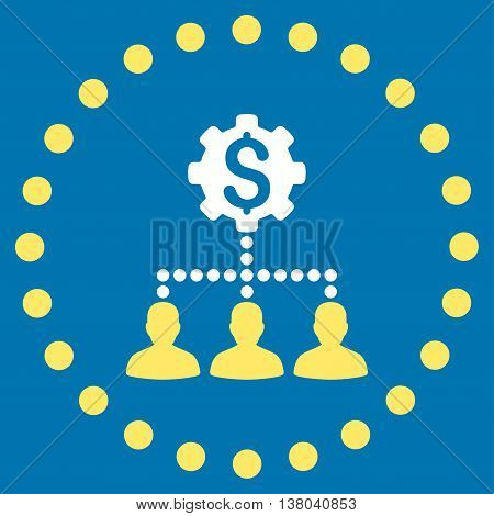Industrial Bank Clients vector icon. Style is bicolor flat circled symbol, yellow and white colors, rounded angles, blue background.