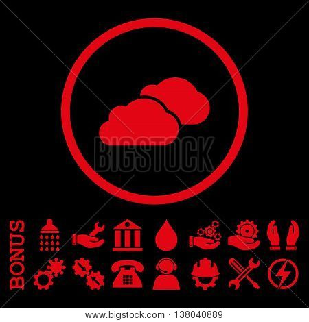 Clouds vector icon. Image style is a flat pictogram symbol inside a circle, red color, black background. Bonus images are included.