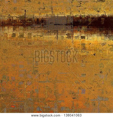 Old school background or texture with vintage style grunge elements and different color patterns: yellow (beige); brown; gray; red (orange)