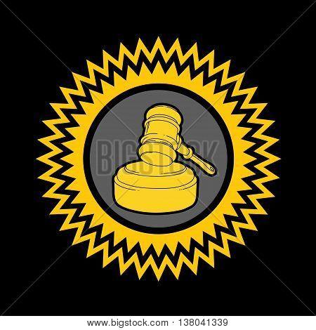 Gold illustration with auction hammer. Judge icon. Stylized gavel on black background.