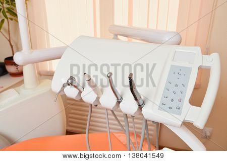 Set of dental equipment in dental office.