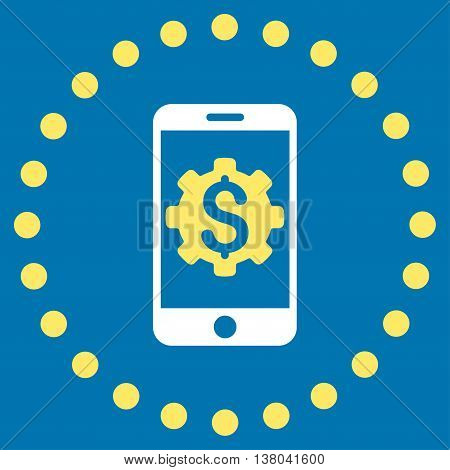 Mobile Bank Setup vector icon. Style is bicolor flat circled symbol, yellow and white colors, rounded angles, blue background.