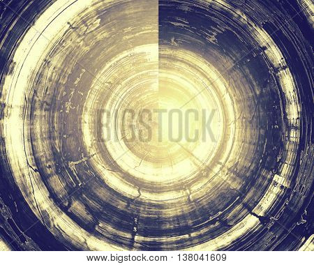 Spherical aged background or texture. Vintage graphic composition with grunge style elements and different color patterns: yellow (beige); brown; blue; gray; purple (violet); white