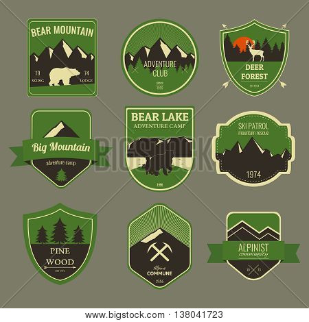 Set of outdoors adventure and expedition badges and labels. Vector illustration