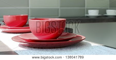 Coffee Cups With Plates On A Table
