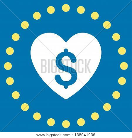 Paid Love vector icon. Style is bicolor flat circled symbol, yellow and white colors, rounded angles, blue background.