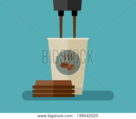 Coffee is poured into paper cup. Flat illustration of coffee paper cup.