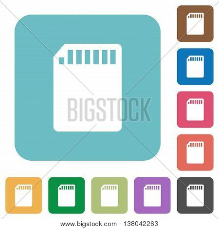 Flat SD memory card icons on rounded square color backgrounds.